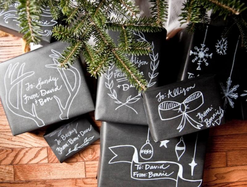 emballage cadeaux de Noël tableau noir