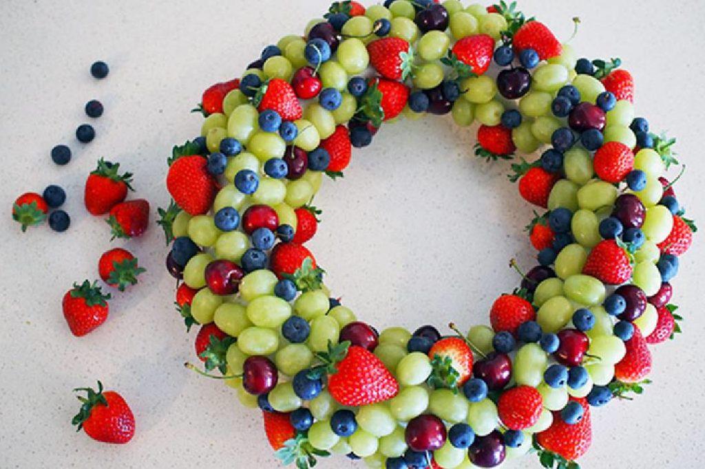 Couronne de fruits comestibles pour Noël DIY