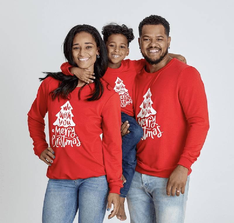 Pull de Noël famille rouge